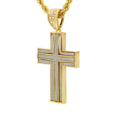 14k Gold Filled 3 Layer Stardust Cross Pendant with Rope Chain