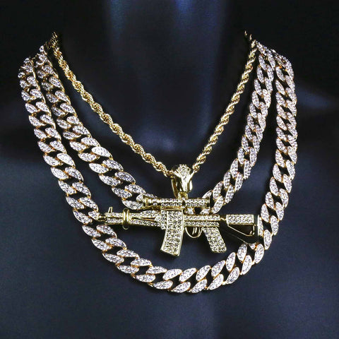2 CUBAN CHAIN & GOLD AK-47 Necklace
