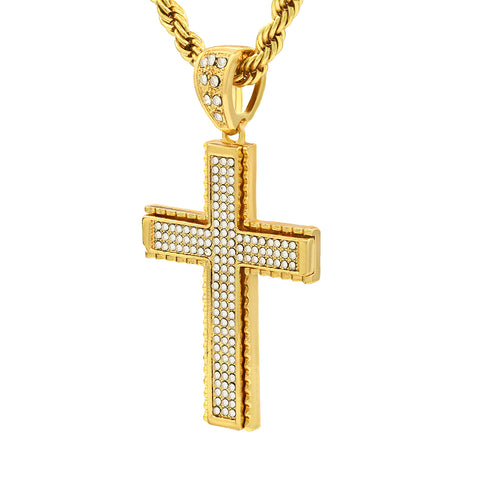 14k Gold Filled Fully Ice Out Cross Pendant  with Rope Chain