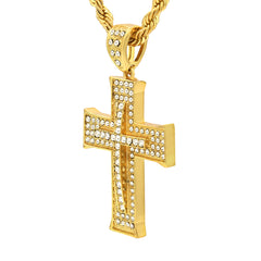 14k Gold Filled Fully Ice Out Smooth Edge Cross Pendant  with Rope Chain