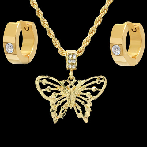 "Gold Plated Butterfly Pendant 24"" Rope Chain/Stainless Steel Huggie Hoop Cz Earrings 2pc Set"