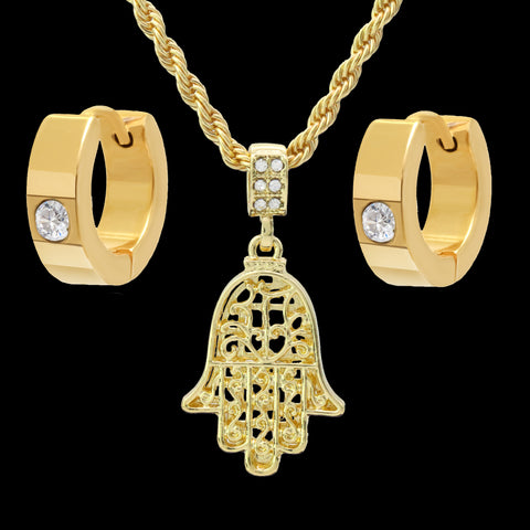 "Gold Plated Hamsa Pendant 24"" Rope Chain/Stainless Steel Huggie Hoop Cz Earrings 2pc Set"