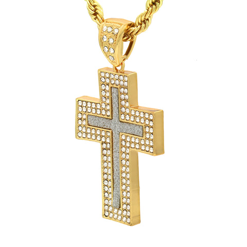 14k Gold Filled Fully Ice Out Stardust Middle Cross Pendant  with Rope Chain