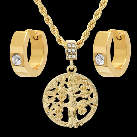 "Gold Plated Money Tree Pendant 24"" Rope Chain/Stainless Steel Huggie Hoop Cz Earrings 2pc Set"