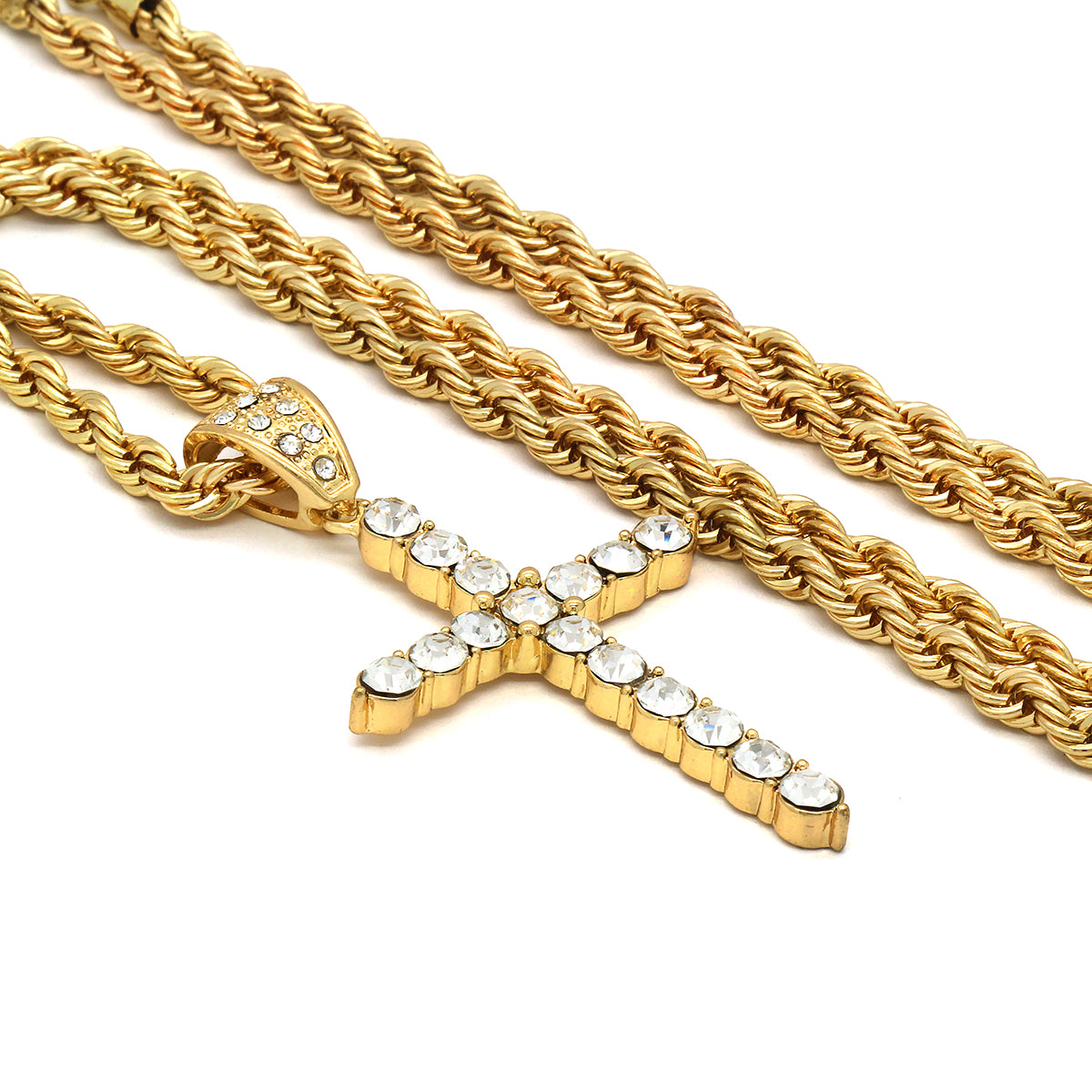 14k Gold Filled Fully Ice Out Gem Cross Pendant  with Rope Chain