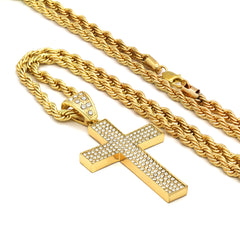 14k Gold Filled Fully Ice Out 4 Line Cross Pendant  with Rope Chain