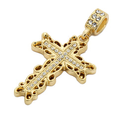 Rope chain Waved Edge Cross Pendant1