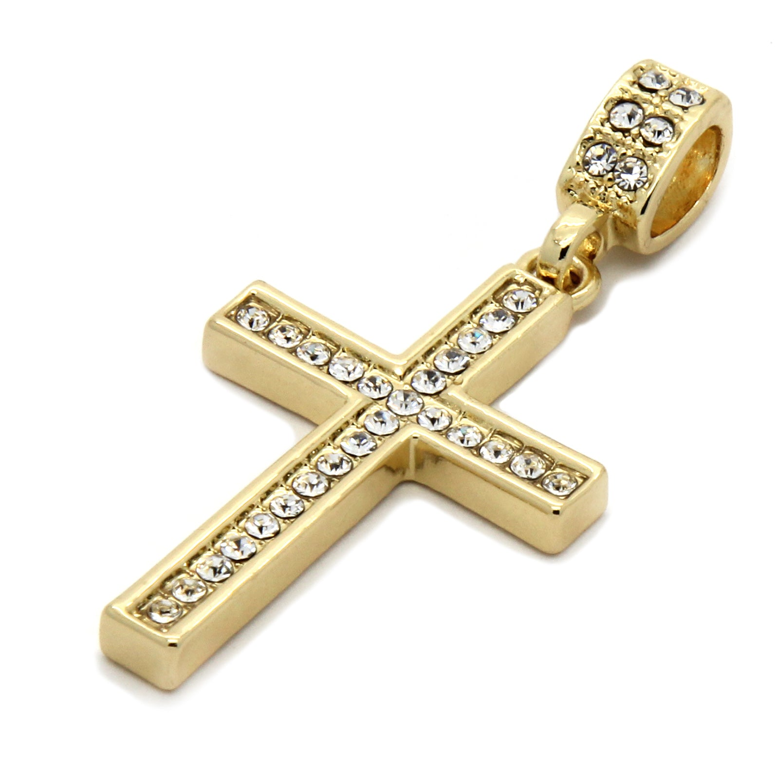 1 Line CZ Cross Pendant Necklace