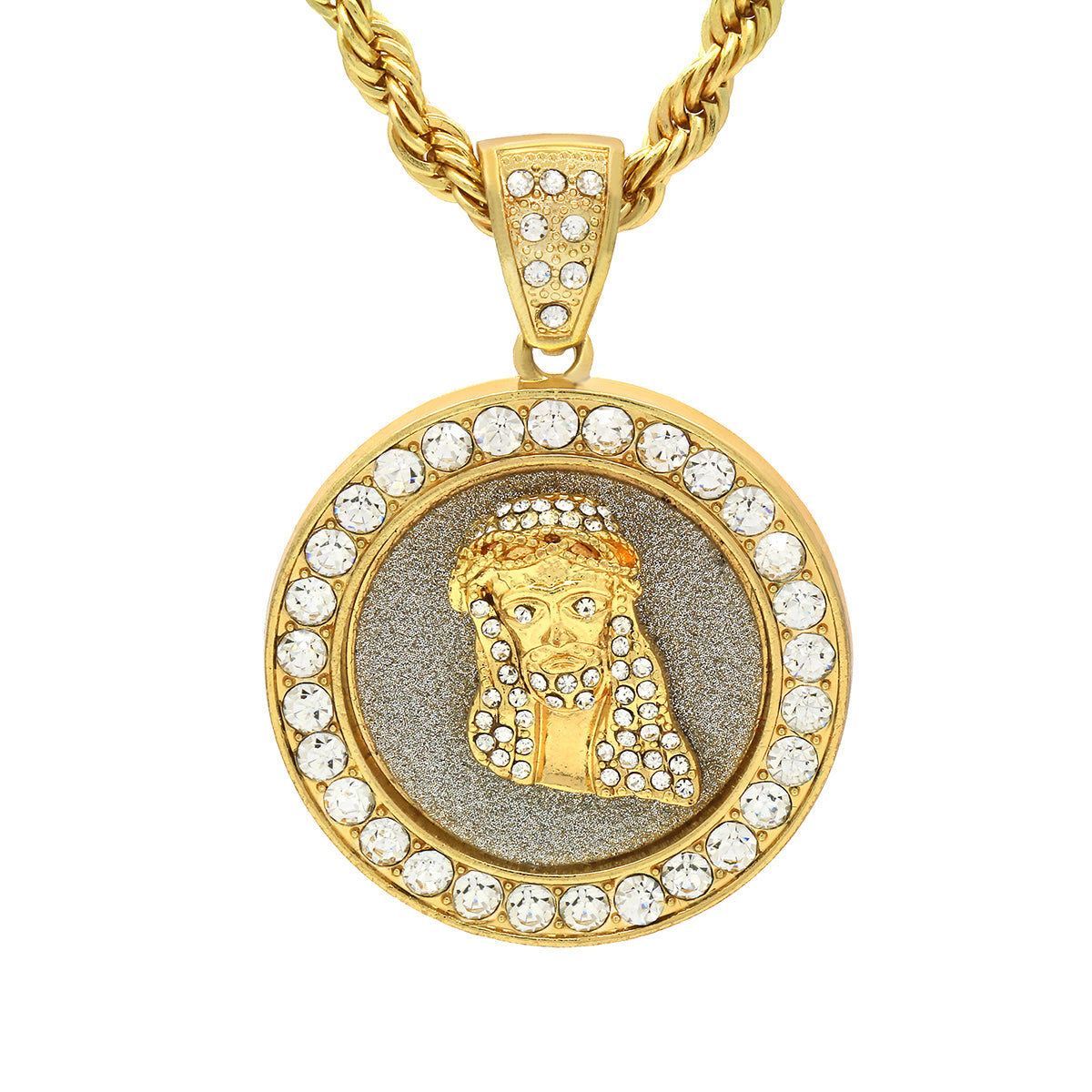14k Gold Filled Fully Ice Out Jesus In the middle Pendant  with Rope Chain