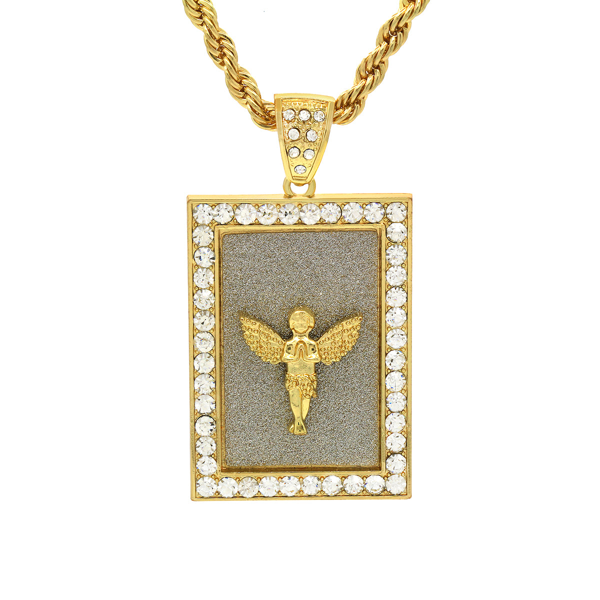 14k Gold Filled Fully Ice Out Angel In the middle Pendant  with Rope Chain