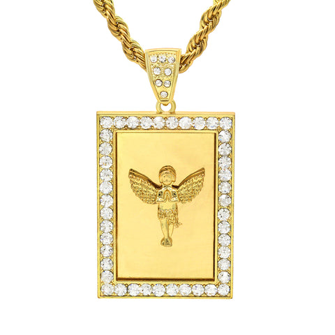14k Gold Filled Fully Ice Out Square Mirror Angel Pendant  with Rope Chain