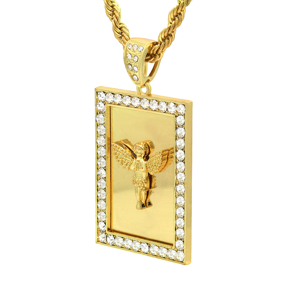 Hip hop pendants mirror angel pendant with rope blingkingstar 14k gold filled fully iced out square mirror angel pendant with rope chain aloadofball