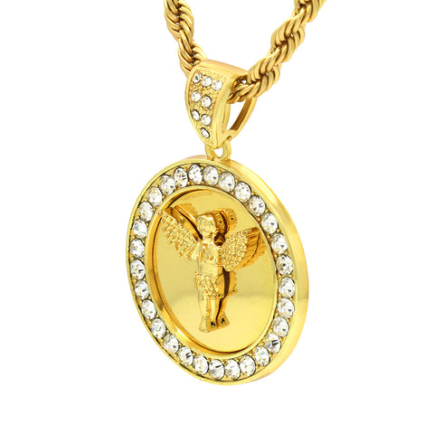 14k Gold Filled Fully Ice Out Round Mirror Angel Pendant  with Rope Chain