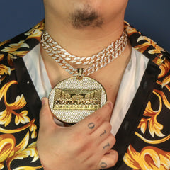 "3pc Last Supper Temple Huge Gold Plated 18,20"" Fully Cz Hip Hop Cuban Choker Chain"