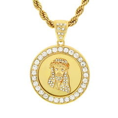 14k Gold Filled Fully Ice Out Round Mirror Jesus Pendant  with Rope Chain