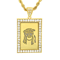 14k Gold Filled Fully Ice Out Square Mirror Jesus1 Pendant  with Rope Chain