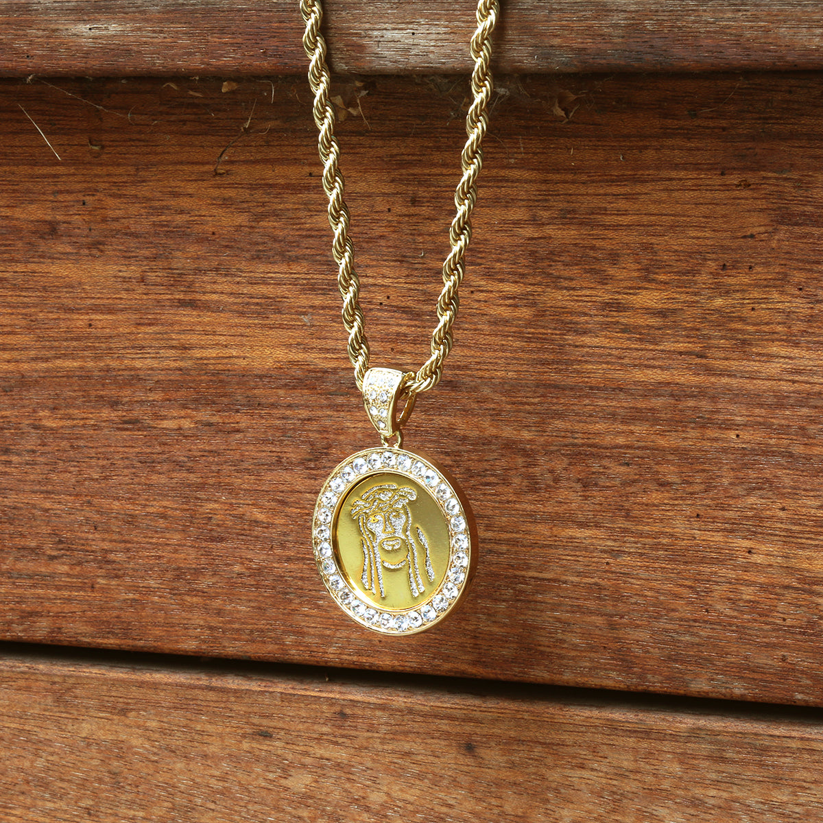 14k Gold Filled Fully Ice Out Round Mirror Jesus2 Pendant  with Rope Chain