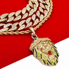 2 CUBAN Bundle Set-Lion yellow Cz