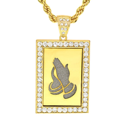 14k Gold Filled Fully Ice Out Square Mirror Prayer Pendant  with Rope Chain