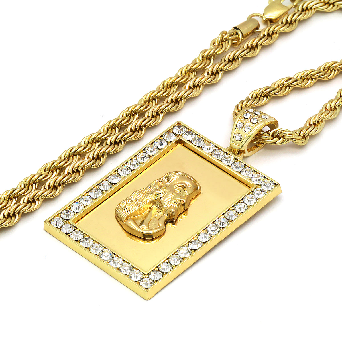 14k Gold Filled Fully Ice Out Square Mirror Jesus2 Pendant  with Rope Chain