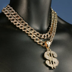 "3pc Cz Large Money Sign Pendant Gold Plated 18, 20"" Fully Cz Cuban Choker Chain"