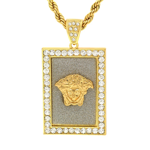 14k Gold Filled Fully Ice Out Square Medusa 1  with Rope Chain