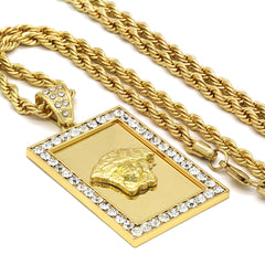 14k Gold Filled Fully Ice Out Square Medusa 2  with Rope Chain