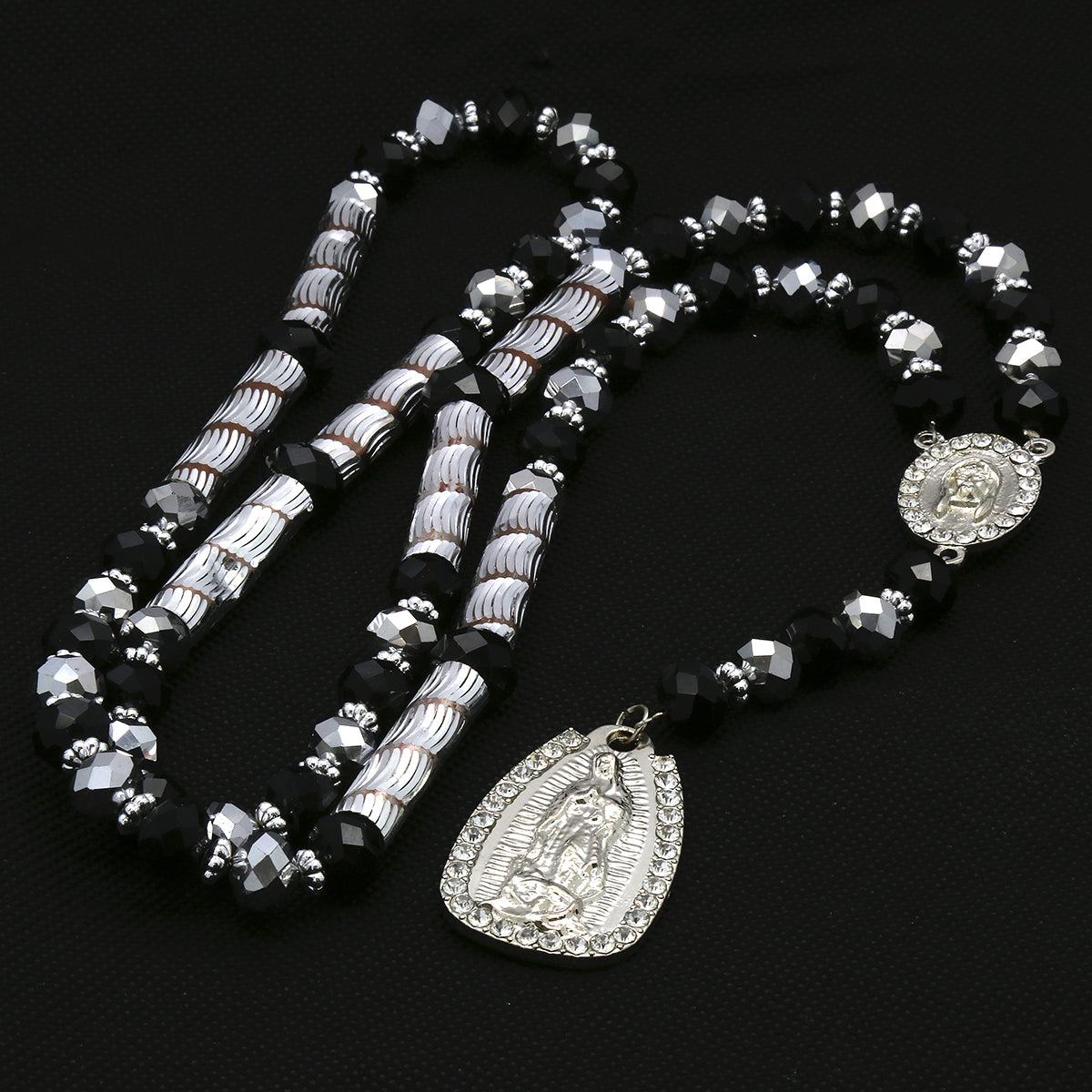 8MM Black/Silver Crystal Rosary Jesus Medal & Guadalupe Pendants
