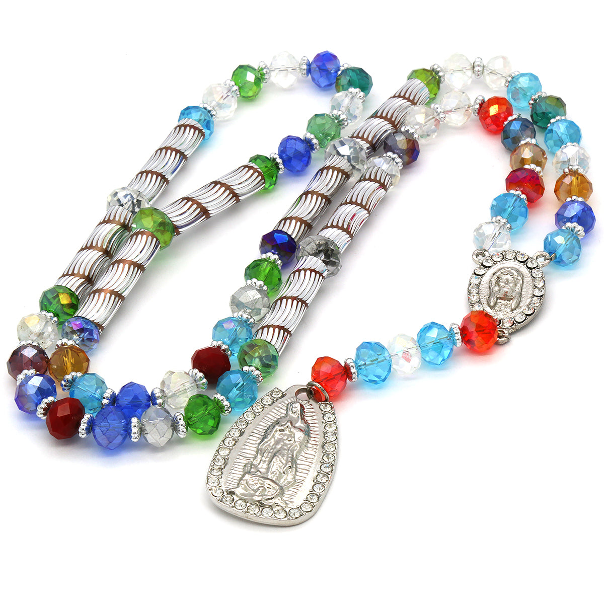 8MM Multi Color Crystal Rosary Jesus Medal & Guadalupe Pendants