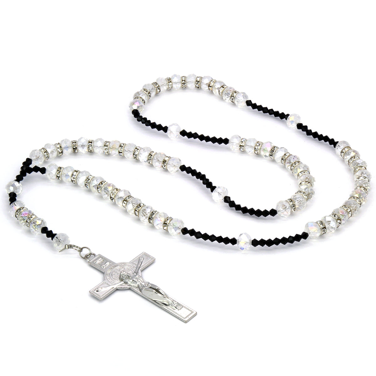 "8MM CLEAR Crystal Rosary 32"" & Jesus Cross Pendant"