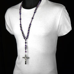 "8MM PURPLE Crystal Rosary 32"" & Jesus Cross Pendant"