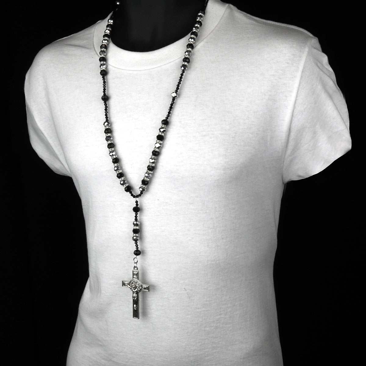 "8MM BLACK/GRAY Crystal Rosary 32"" & Jesus Cross Pendant"
