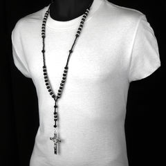 "8MM BLACK Crystal Rosary 32"" & Jesus Cross Pendant"