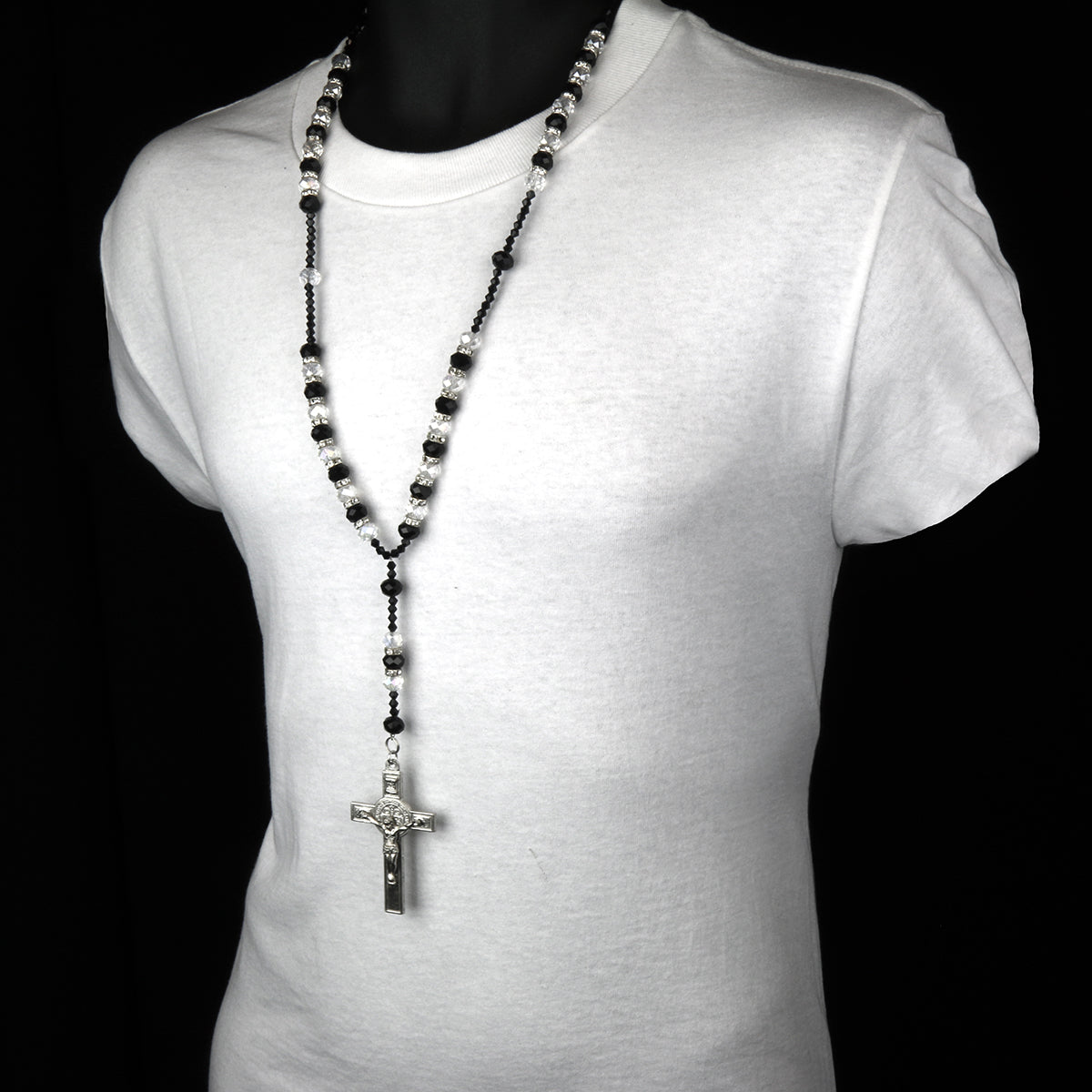 "8MM BLACK/CLEAR Crystal Rosary 32"" & Jesus Cross Pendant"
