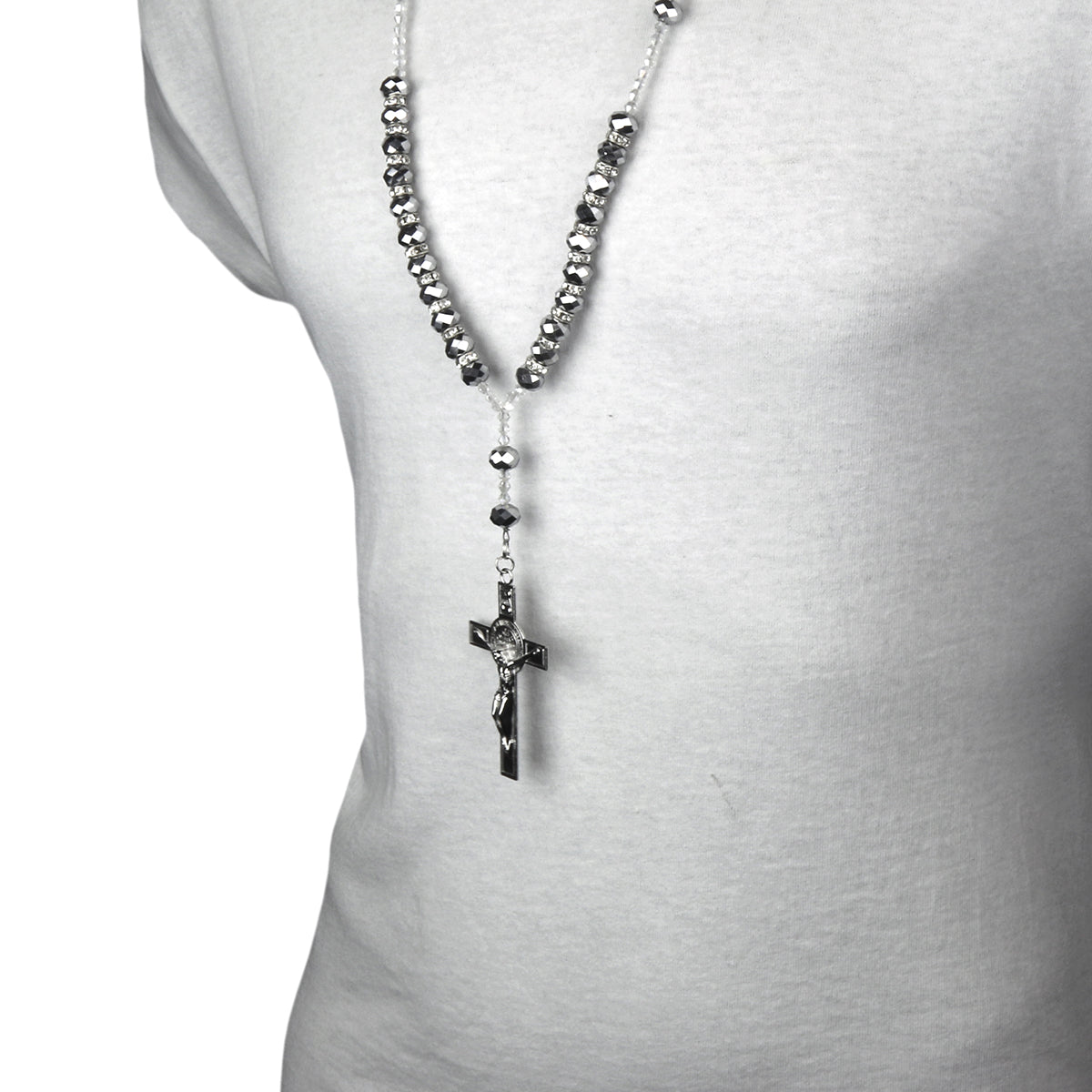 "8MM GRAY Crystal Rosary 32"" & Jesus Cross Pendant"