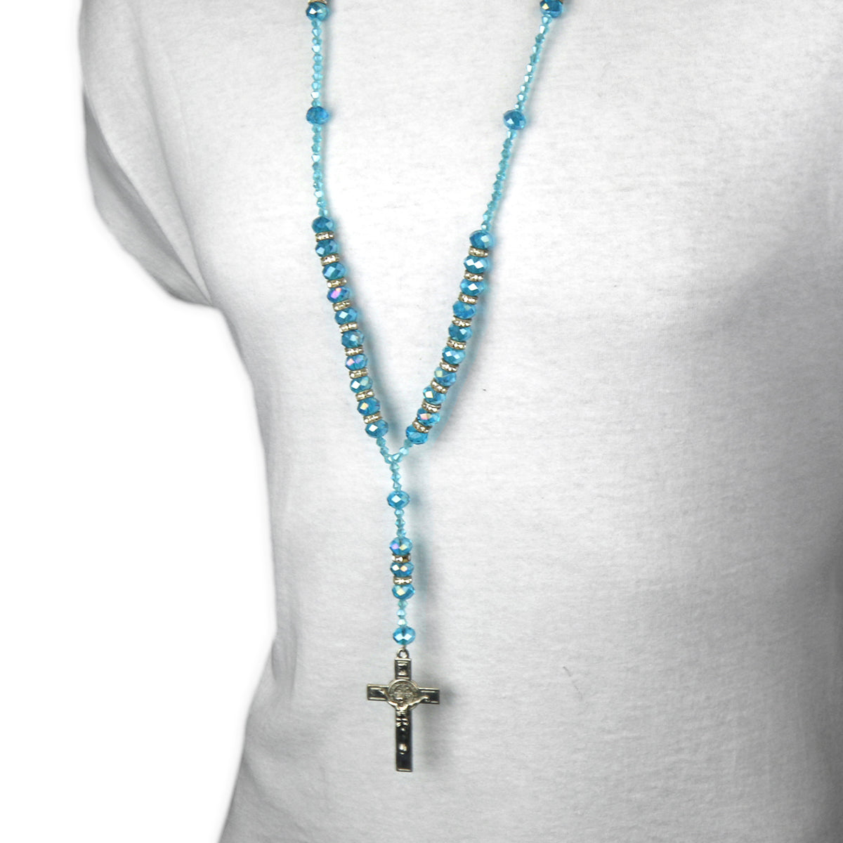 "8MM LIGHT BLUE Crystal Rosary 32"" & Jesus Cross Pendant"
