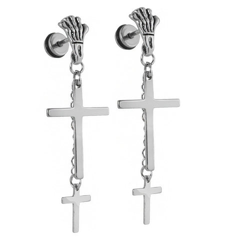 2 Cross Dangle Skeleton Hand White Gold SST Plain Earring