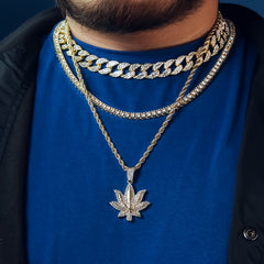 Marijuana 4 Pcs Set Clear Cz Cuban, Tennis & Rope Chain Bundle Gold PT
