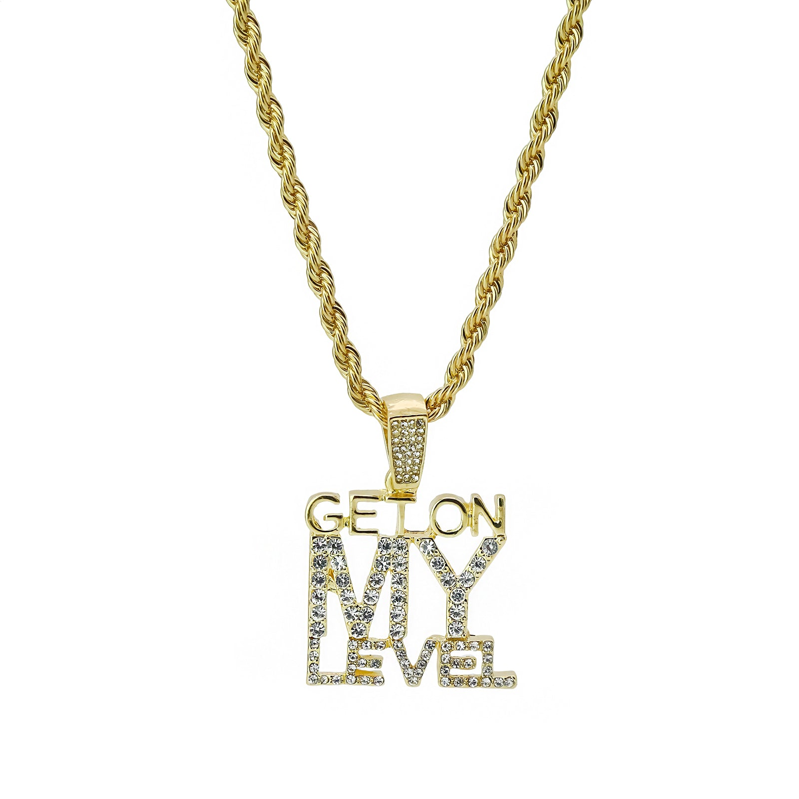 Get On My Level 4 Pcs Set Clear Cz Cuban, Tennis & Rope Chain Bundle Gold PT