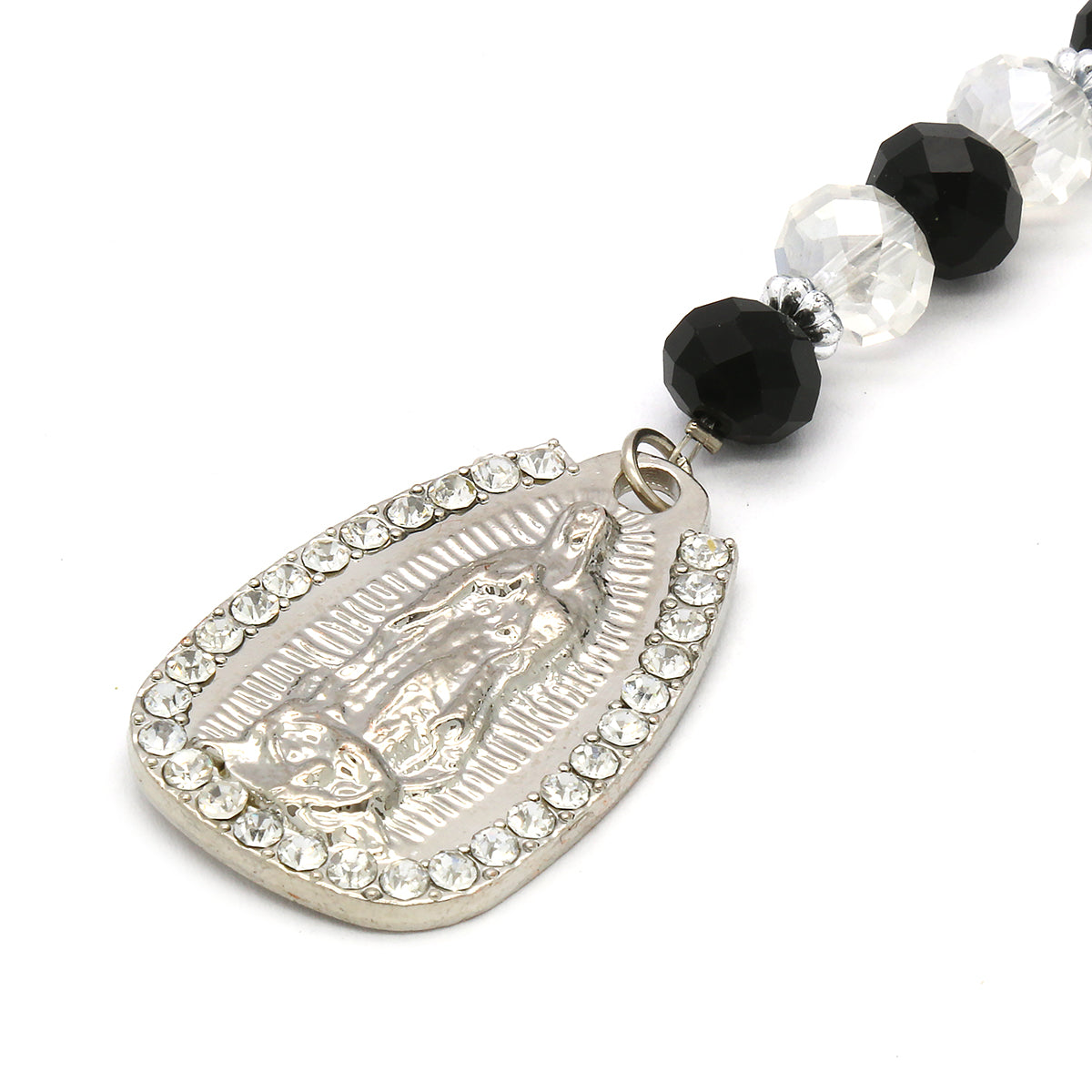 8MM Black/Clear Crystal Rosary Jesus Medal & Guadalupe Pendants