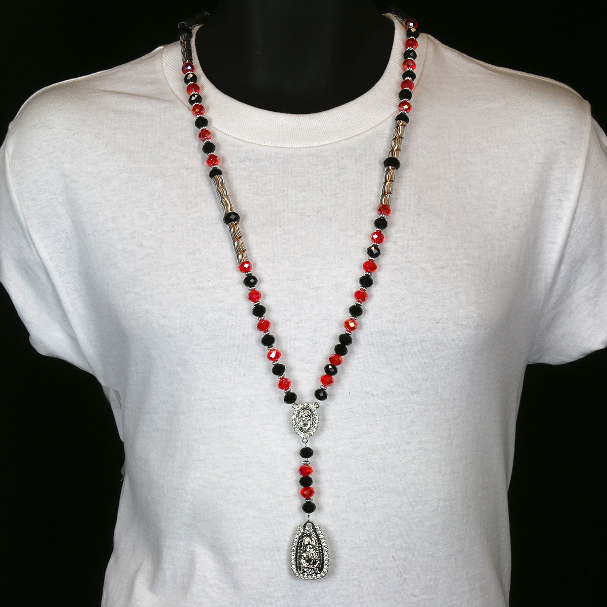 8MM Black/Clear Red Crystal Rosary Jesus Medal & Guadalupe Pendants