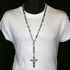 8MM Multi Color Crystal Rosary SanBenito Cross Pendant