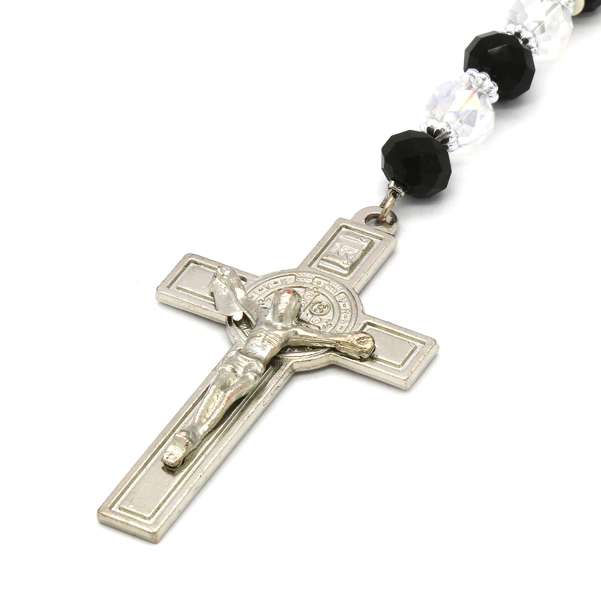 8MM Black/Clear Crystal Rosary Jesus Medal & SanBenito Cross