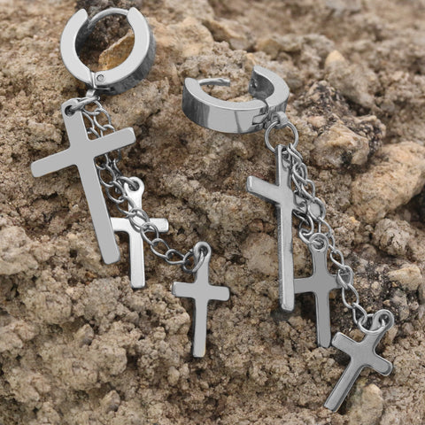 18k Stainless Steel Silver 3 Cross Dangle Huggie Hoop EARRING