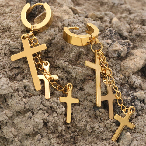 18k Stainless Steel Gold 3 Cross Dangle Huggie Hoop EARRING