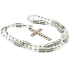 8MM Clear Crystal Rosary With Cross Pendant