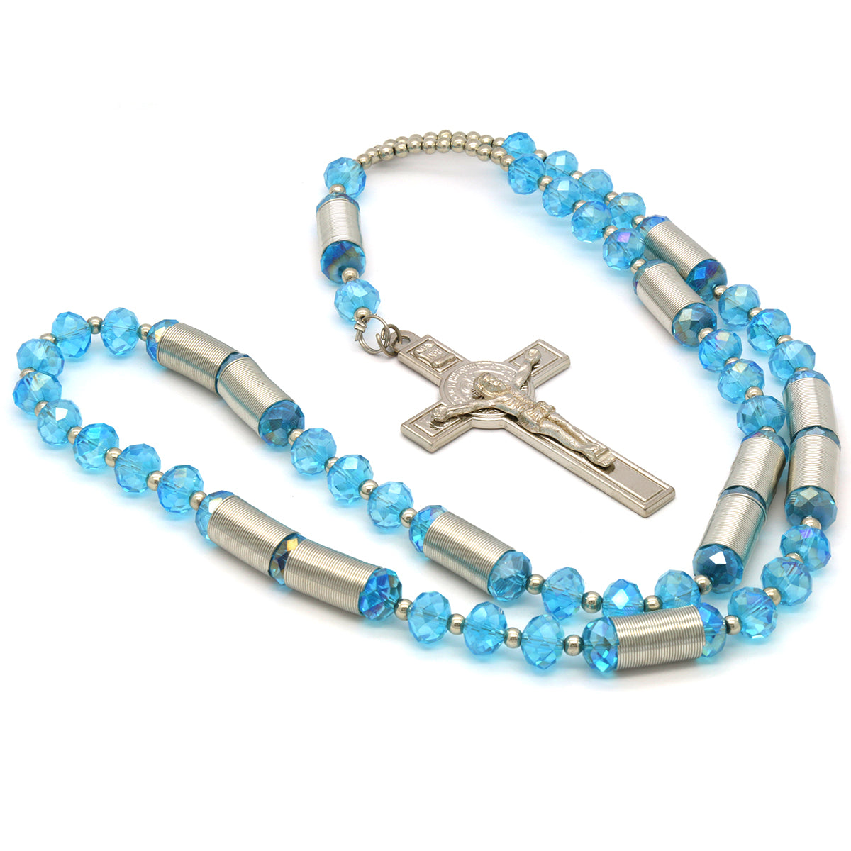 8MM Light Blue Crystal Rosary With Cross Pendant