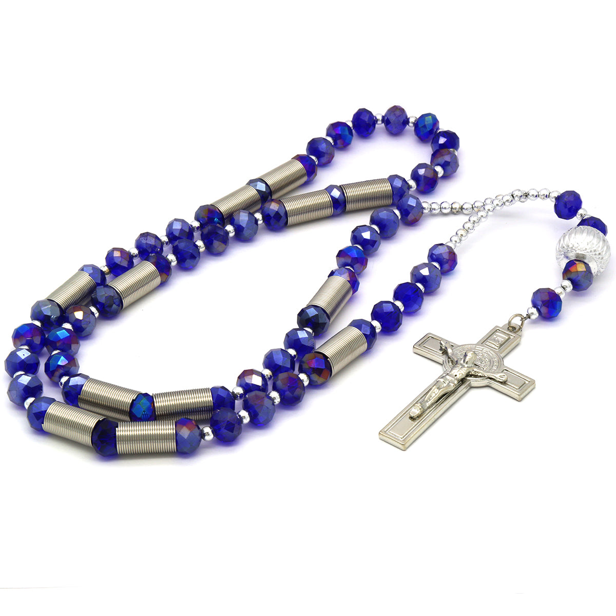 8MM Dark  Blue Crystal Rosary With Cross Pendant