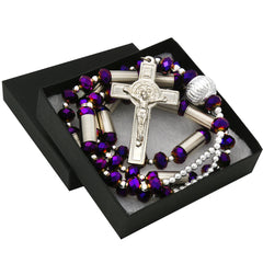 8MM Purple Crystal Rosary With Cross Pendant