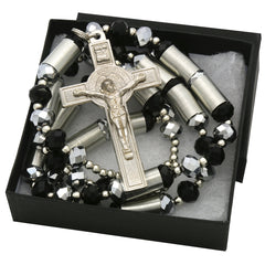 8MM Black/Silver Crystal Rosary With Cross Pendant